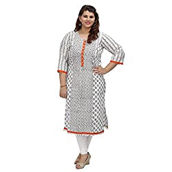 Damyantii Women Plus Size White Cotton Straight L Kurta