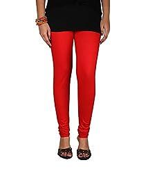 Ceil Women's Soft Cotton Leggings (LL 1007_Red_Free Size)