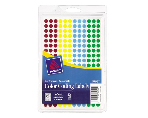 avery-assorted-removable-see-through-color-dots-025-inch-round-pack-of-864-5796