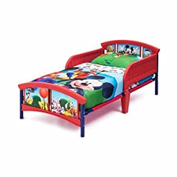 Disney Mickey Mouse Plastic Toddler Bed 2 Safe Sleep Bed Rails