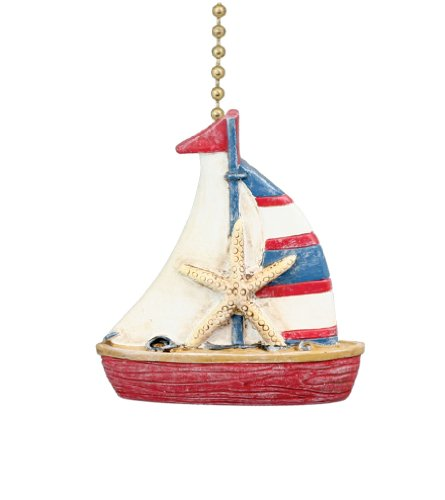 Nautical Coastal Sailboat Ceiling Fan Pull front-4859