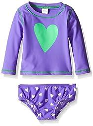 Osh Kosh Baby Long Sleeve Heart Rash Guard Set, Purple, 18 Months