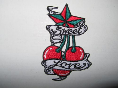Cherry Tattoo Star Sweet Love Biker Clothing Jacket Shirt Embroidered Iron on Patch