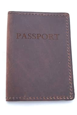 Rustic Genuine Leather Passport Holder, Dark Brown