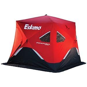 Eskimo FF949 FatFish 3-4 Person Pop Up Portable Ice Shelter, Red Black by Eskimo