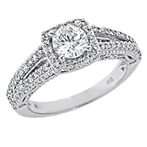 14k White Gold Round Diamond Engagement Ring Split Shank Design Vintage Style (1 Carat, VS-2 Clarity, F Color) from ATR Jewelry