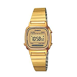 Casio Women's Illuminator LA670WGA9 Gold Stainless-Steel Quartz Watch with Digital Dial
