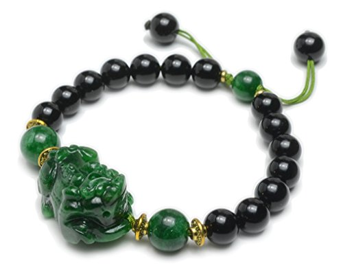 Elegant Auspicious Fortune Tiger Chinese Jade Amulet Bracelet, Black Agate Beads – Fortune Jade Jewelry
