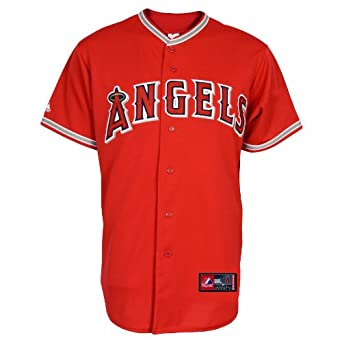 MLB Los Angeles Angels Scarlet Alternate Short Sleeve 6 Button Synthetic Replica... by Majestic
