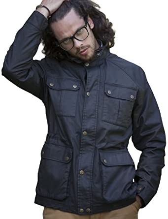 VEDONEIRE Mens Wax Jacket (3050) BLACK brushed check lining by Vedoneire
