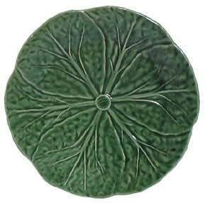 "Majolica Green Cabbage Leaf Ceramic Pottery Salad Plate 7.5""D Set / 2"