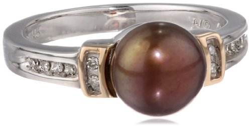 S&G Sterling Silver and 14k Yellow Gold 8mm Chocolate Freshwater Cultured Pearl and Diamond Ring (0.05 cttw, I-J Color, I3 Clarity), Size 7