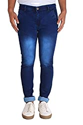 Bdow Men's denim slim fit strecheable jeans ( Blue ) (Ink Blue, 28)
