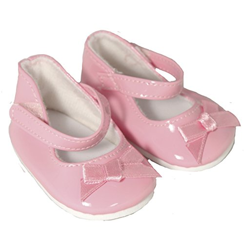 Pink Ankle Strap Shoe with Bow for 18 Inch Dolls Like American Girl