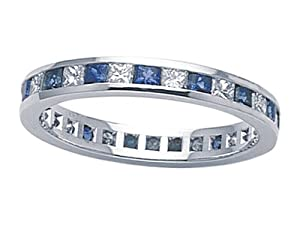 Karina B (tm) Genuine Sapphire Eternity Band in Platinum 950 Size 5.5