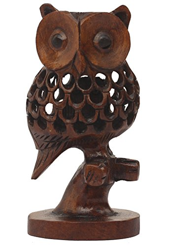 SouvNear 10.2 cm Handmade Wooden Owl Statue / Sculpture Sitting on a Tree Branch in Dark Brown Color - Antique-Look Animal Figurines in Jaali Art