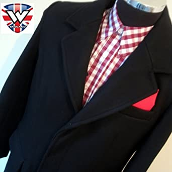 Black 3/4 Overcoat (Crombie Style) with Red Satin Lining and Hankerchief look in Breast Pocket (Extra Extra Large 44-46 Inch Chest))