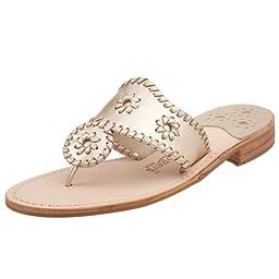 Jack Rogers Women\'s Hamptons Sandal,Platinum,7 M