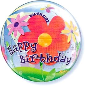 22 Inch Birthday Funky Flowers 3D Bubble Balloons