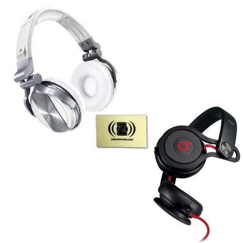 Pioneer Hdj-1500 Professional Dj Headphones (White) Bundle With Beats By Dr. Dre Mixr - Lightweight Dj Headphones (Black) And Custom Designed Zorro Sounds Cloth