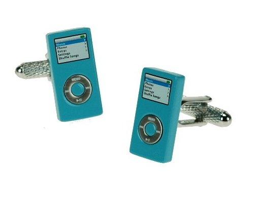 Men's Novelty Stainless Steel Cufflinks Blue Ipod - For the Music Lover
