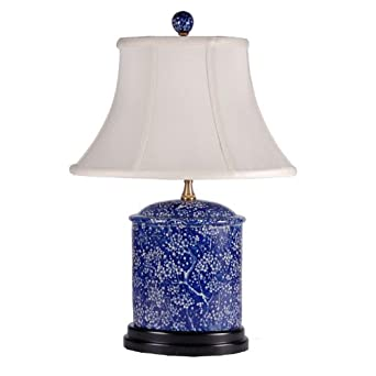 dark blue and white oval porcelain table lamp. Black Bedroom Furniture Sets. Home Design Ideas