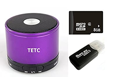 TETC Wireless Mini Bluetooth speaker HiFi Audio player with MIC For iPhone 5 ipad 3 Ipad 4 smart phone with Rechargeable Battery and Enhanced Bass Resonato (L-purple)+ one 8G Card + one Card Reader