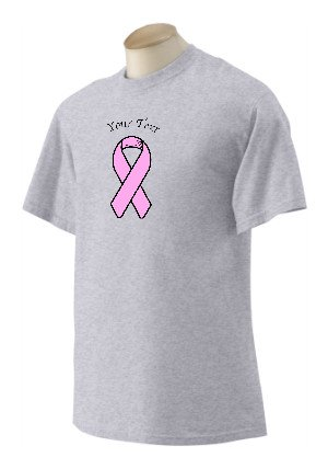 Personalized Printed Pink Breast Cancer Awareness Support Ribbon On T-Shirt, Adult Large, Ash front-1021913