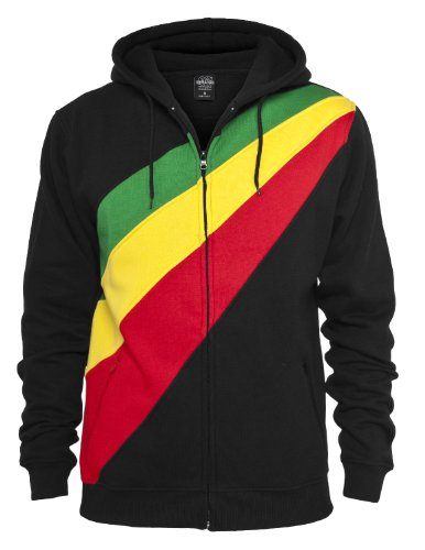 "Urban Classics Hoodie """" Diagonal Zip Hoody ""in numerosi colori black-rasta Large"