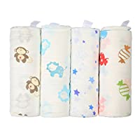 Baby Receiving Blankets 4 Pack | 48 × 48 inch Large Baby Swaddle Blankets | Soft and Cozy 100% Muslin Cotton | Unisex and Colorful Prints by Innoo Tech
