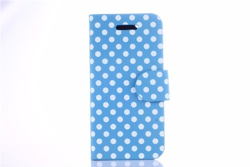 Helpyou Sky Blue/White Dot Iphone 5C Fashion Polka Dots Flip Leather Wallet Pouch Shell Stand Case Protective Cover For Apple Iphone 5C front-55908