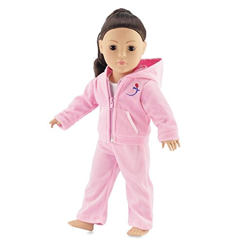 Pink Velour Juicy Jogging Suit Fits American Girl Dolls | 18 Inch Doll Clothes | Includes White Tank Top