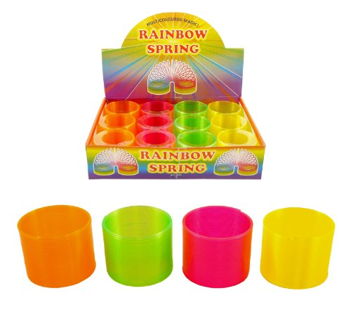 Pack Of 10 Rainbow Neon Magic Springs - Slinkies - Party Bag Fillers - Party Bag Toys