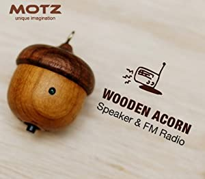 Motz Tiny Wooden Acorn Speaker (Bulid-in FM Radio) for iPod and MP3 Player (100% Made in Handicraft)