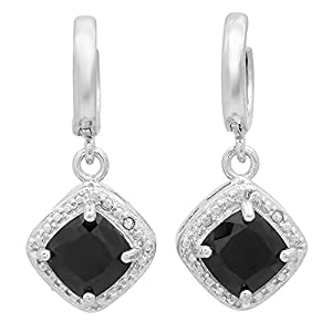1.22 Carat (ctw) Sterling Silver Black Sapphire & White Diamond Accents Ladies Halo Dangling Drop Earrings