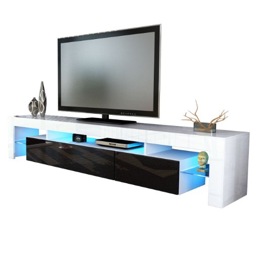 TV Stand Unit Lima V2 in White / Black metallic High Gloss Black Friday & Cyber Monday 2014
