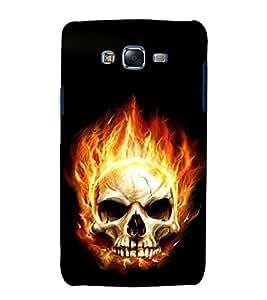 printtech Flaming Skull Back Case Cover for Samsung Galaxy J2 / Samsung Galaxy J2 J200F