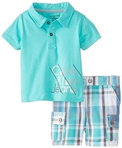 Calvin Klein Baby-Boys born Polo with Plaided Cargo Short from Calvin Klein