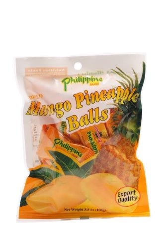 Philippine Brand Dried Mango Pineapple Balls, 3.5-Ounce Pouches (Pack of 10)