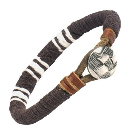 R&B Jewelry Stylish Men's Brown Leather Bracelet Medallion Cuff