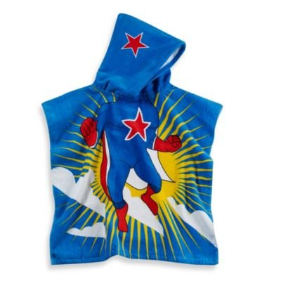 Kids Printed Superhero Hooded Beach Towel In Multi/blue - 1