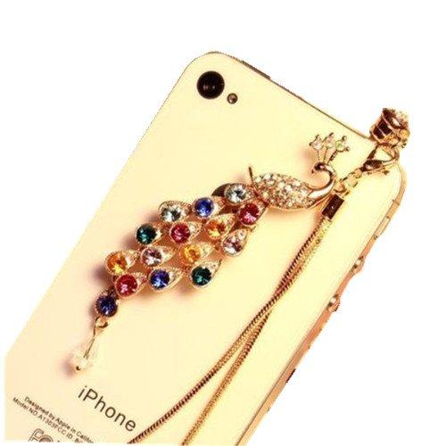 Mavis'S Diary Ultra-Luxury Full Czech Diamond Peacock Chain Pendants / Earphone Jack Accessory / Ear Cap / Ear Jack For Iphone / Ipad / Ipod Touch / All Device With 3.5Mm Jack With Free Cloth