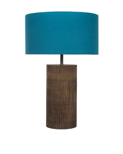 Filament Carved Wooden Base Table Lamp, Brown/Petrol