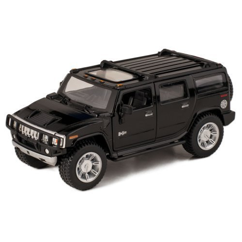 Black 2008 Hummer H2 SUV Die Cast Toy with Pull Back Action
