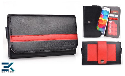 [Graphite Series] Universal Mobile Phone Cover Wallet Fits Samsung Galaxy S5 Case - Black & Red