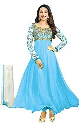 Sky Creation Women's Georgette Anarkali Suit (74365_Free Size_SKY BLUE)