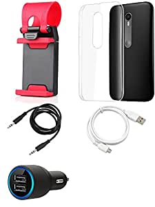 NIROSHA Cover Case Car Charger USB Cable Mobile Holder for Motorola G3 - Combo