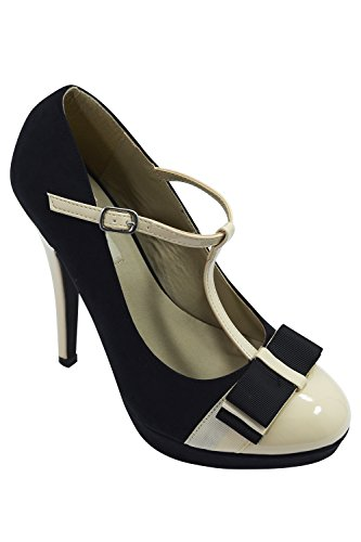 Vintage Inspired Retro Pin-up Black & Cream Two Tone Bow Accent T-strap Mary Jane Platform Stiletto Pumps 0