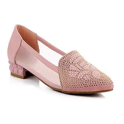 BalaMasa Ladies Square Heels Low-Heels Mesh Legging Pumps-Shoes