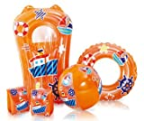 Kids (Orange) Swimming Pool 5 Piece Set Inflatable Beach Ball, Ring, Armbands and Surfer